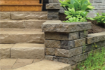Limestone patios give a natural look